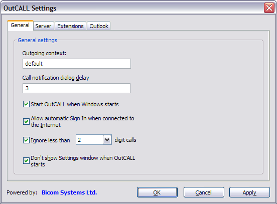 OutCALL Settings - General